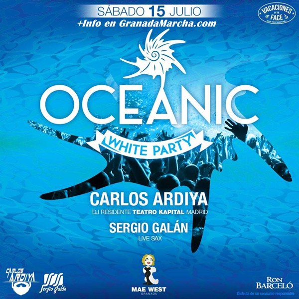 Oceanic, White Party en Mae West Granada con Carlos Ardiya y Sergio Galán